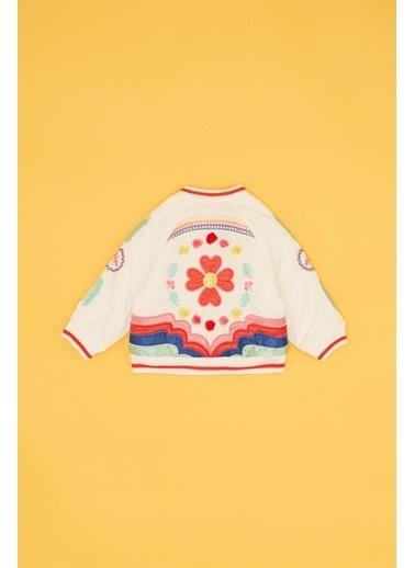 BG Baby Kız Bebek Beyaz Bomber Ceket Beyaz